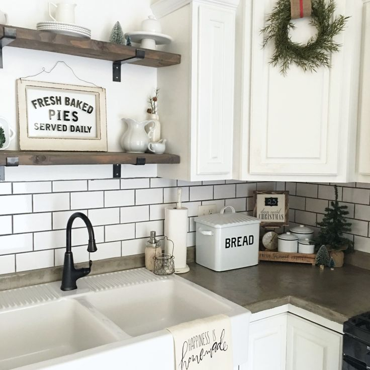 farmhouse winter kitchen - White Kitchen With Subway Tile Backsplas