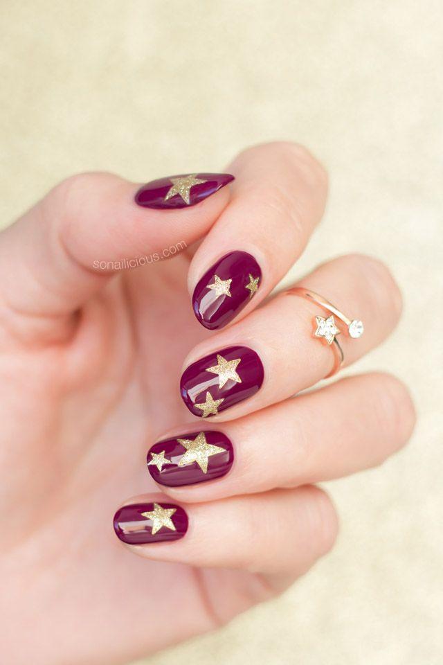 Gold Stars nails || 10 Easy Nail Art Ideas