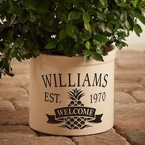 Personalized Stoneware Crock - Welcome Pineapple @ Fresh Finds