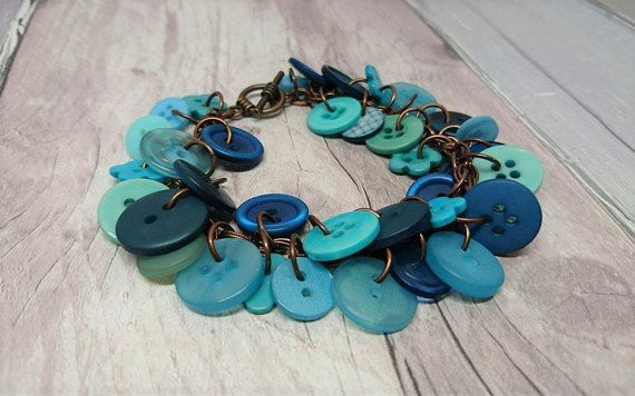 Teal aqua and copper charm style button by FolbarJewellery on Etsy