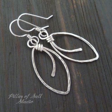 Hammered Marquis shaped Sterling Silver wire wrapped earrings
