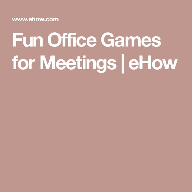 Fun Office Games for Meetings | eHow