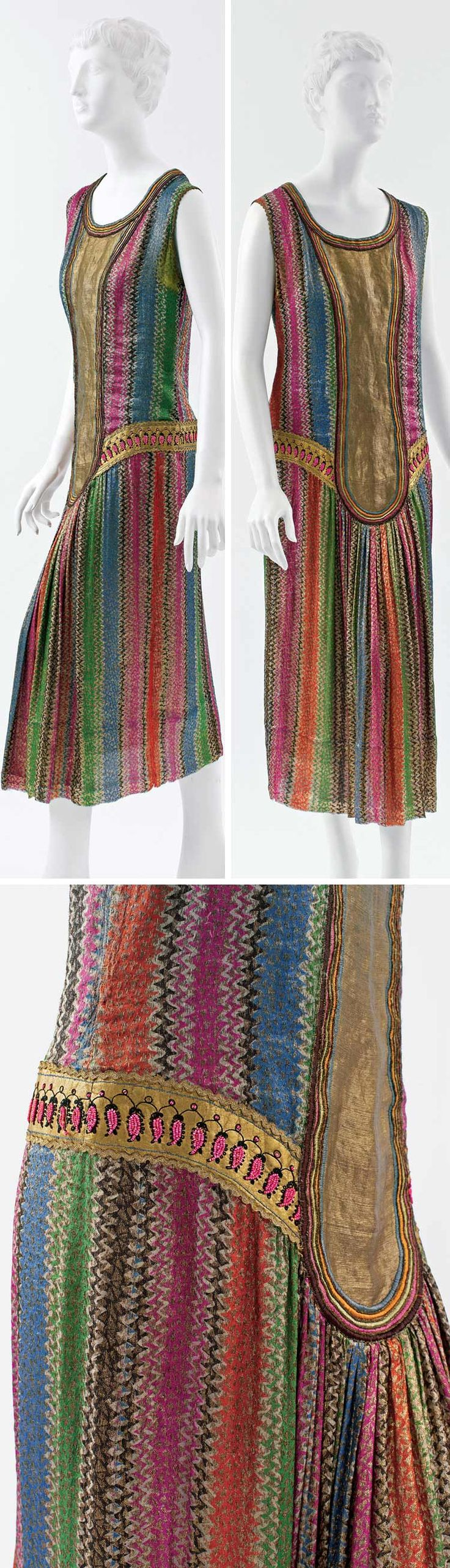 20s Dress, Poiret, ca. 1925. Silk and leather. Metropolitan Museum of Art colorful stripes blue red pink green gold yellow sleeveless unique style vintage flapper art deco