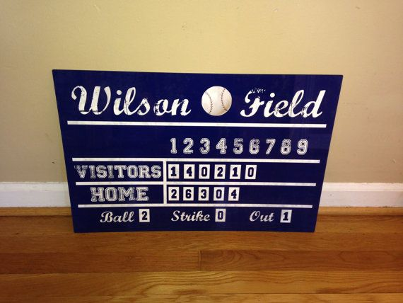 16x24 Aluminum Vintage Baseball Scoreboard - Personalized with Name & Color - Perfect for any little Slugger's Room! Free Shipping!