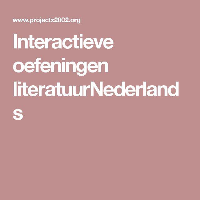 Interactieve oefeningen literatuurNederlands