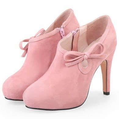 Adorable Pink LEATHER BOW WATERPROOF HIGH-HEELED SHOES