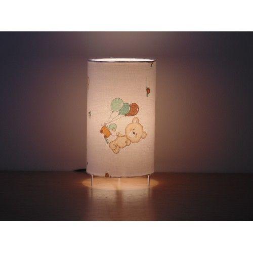 lampe tube blanche motifs oursons nounours ballons lampe chevet lampe d'appoint idée cadeau naissance baptême anniversaire trousseau bébé | JourDePluieCreations