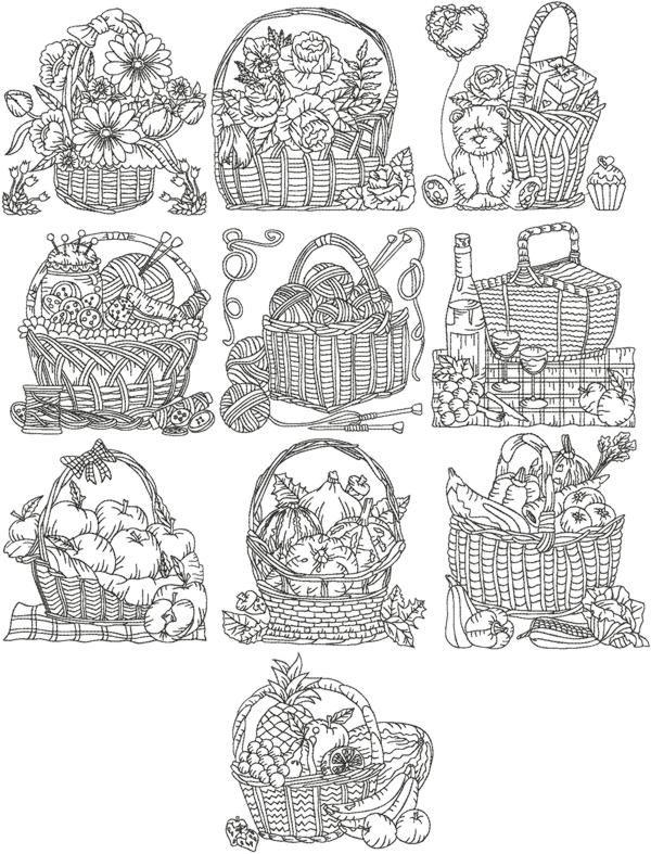 Advanced embroidery designs redwork basket set