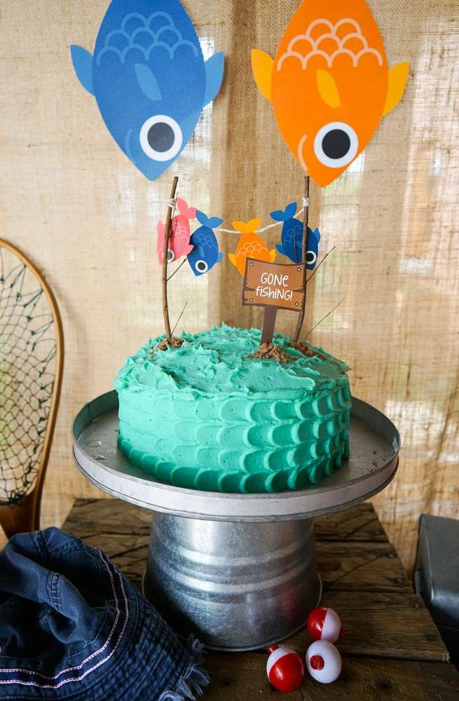 Cool cake at a fishing birthday party! See more party planning ideas at CatchMyParty.com!