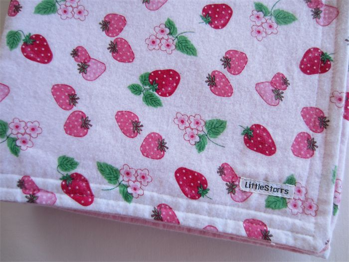 Strawberry Fields Flannel Baby Blanket | LittleStarrs | madeit.com.au