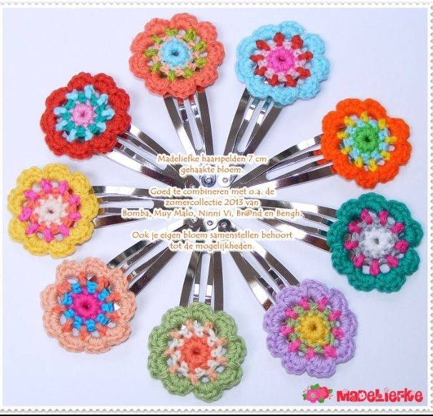 Crochet Flowers Tutorial By Carmen Heffernan : http://www.madeliefke.nl/winkel/nl/41-haarspelden-7-cm ...
