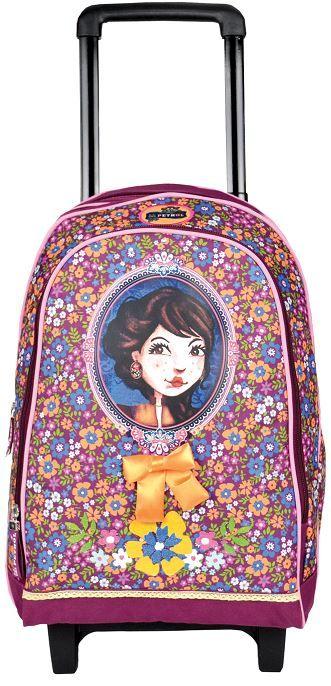 Cartable à roulette Lili Petrol adapté pour le CP/CE1 ! On adore son esprit très fleuri et girly violet avec imprimé fleurs autour d'un des personnes emblématiques de la marque : Berlingot ! http://www.squaredesaccessoires.com/sac/7710-cartable-a-roulette-violet-lili-petrol-berlingot-3496342651166.html