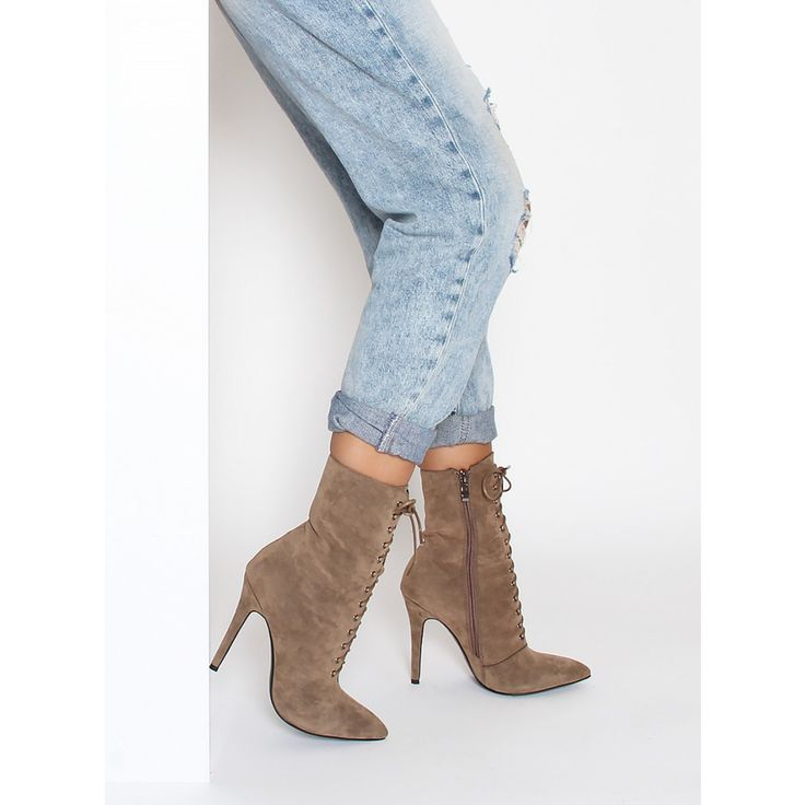 Aaliyah Taupe Suede Lace Up Pointed Ankle Boots : Simmi Shoes