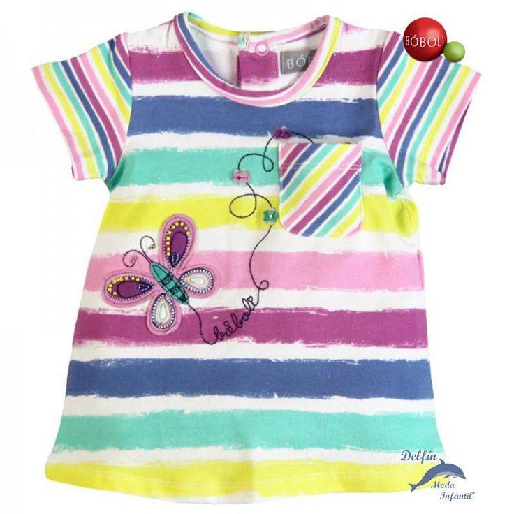 Vestido algodón listado BOBOLI bordado mariposa