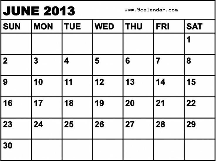 may june calendar 2013