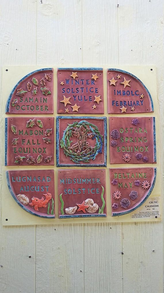 The Celtic calendar is a compilation of pre-Christian Celtic systems of timekeeping, including the Gaulish Coligny calendar, used by Celtic countries to define the beginning and length of the day, the week, the month, the seasons, quarter days, and festivals.  This Celtic Calendar
