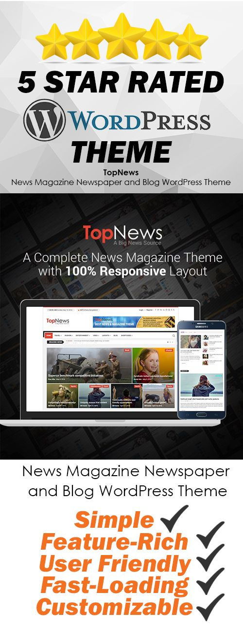 A complete WordPress theme  for News Magazine with 100% Responsive layout. It comes with 8 Homepage layouts. With different Header and Menu variations. And many other things like Powerful Admin Panel, Visual Composer, Custom Archive Page, Image Gallery, Youtube/Vimeo playlist, Social Counter Widget, Popular Post Widget. Be Unique!  #affiliate