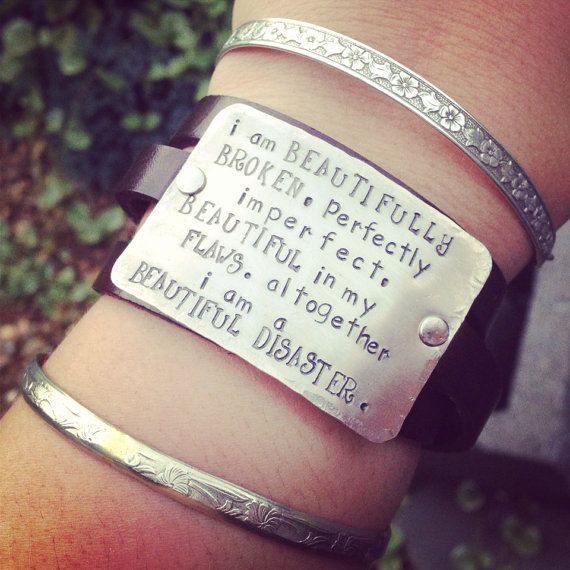 hand stamped beautifully broken bracelet genuine leather cuff on Etsy, $37.00