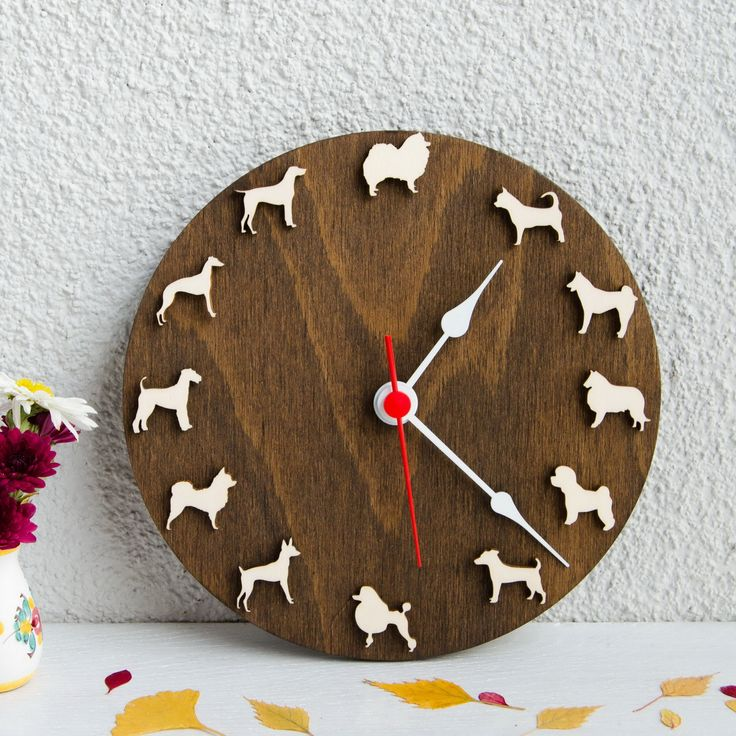Dog clock with different breeds Spitz, Chihuahua, Huskey, Collie, Bichon frize, Jack Russell, Poodle, Toy Terrier, Whippet, Shorthaired pointer, Fox terrier