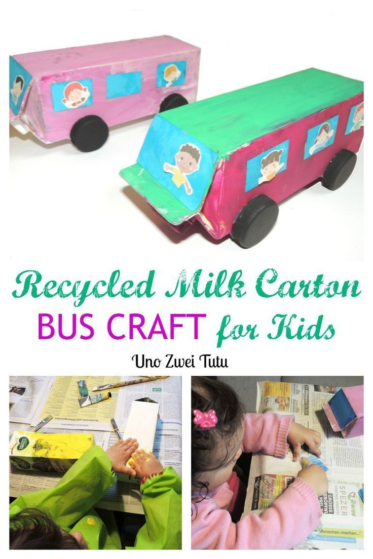 Recycled milk carton bus craft for young children.