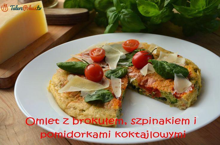 Omlet z brokułem, szpinakiem i pomidorkami koktajlowymi - TalerzPokus.tv