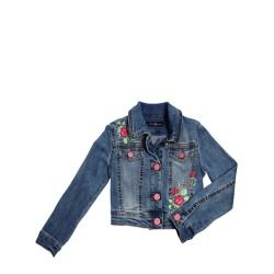 BLUMARINE JEANS - EMBROIDERED STRETCH DENIM JACKET     Front button closure. Button cuffs. Embroidered and beaded front panels. Logo embroidered back panel. Made in Italy