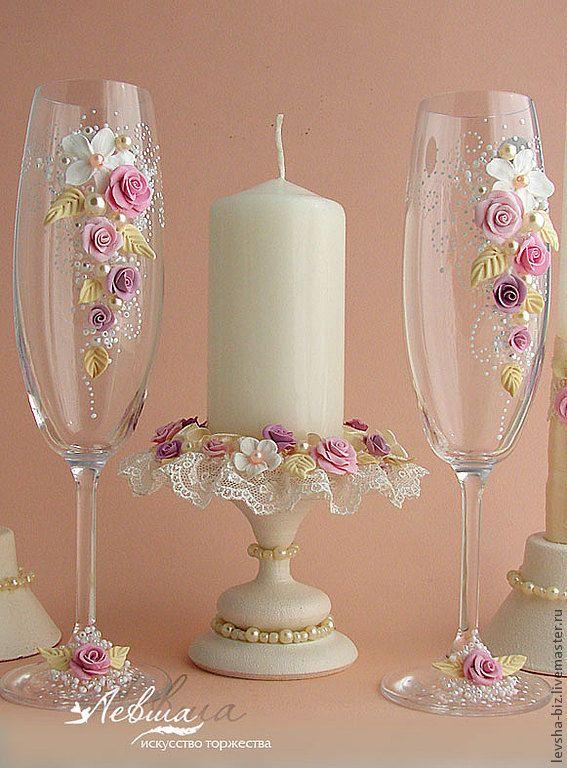 """Купить Свадебный комплект """"Апрель""""бокалы,свечи,подсвечники - свадебные аксессуары, свадебные свечи, свадебные бокалы"""