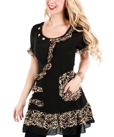 Another great find on #zulily! Black & Beige Lace-Trim Scoop Neck Tunic by Lily #zulilyfinds