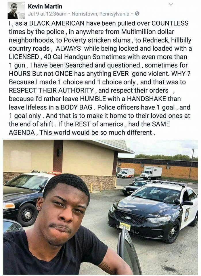 While it's not fair to lump 1 into an entire category, (whites, blacks, cops, etc) I agree w/ respecting the authority bc God instructs us to DO that.  And, lump we do, too. Every situation & people involved under varying circumstances... presents a different outcome. Whether wrong or right, that much is fact.
