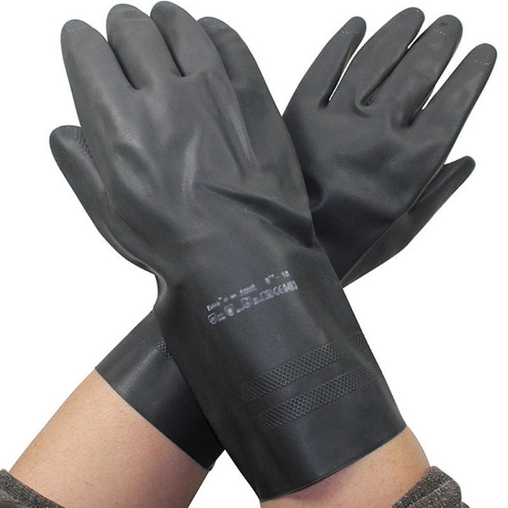 Newest Black Heavy Duty Natural Rubber Acid Alkali Resistant Chemical Gloves #Unbranded