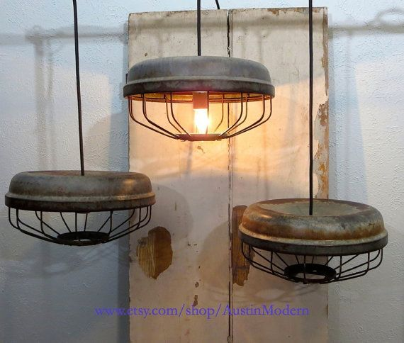 PAIR Rustic vintage lighting Chicken Feeder Lamp by AustinModern, $230.00
