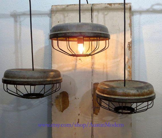 PAIR Rustic vintage lighting Chicken Feeder Lamp Industrial Farmhouse on Etsy, $230.00