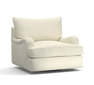 PB Comfort English Arm Upholstered Swivel Armchair Knife Edge, Polyester Wrapped Cushions, Premium Performance Basketweave Ivory