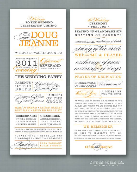 wedding program tea length long block text words by citruspressco