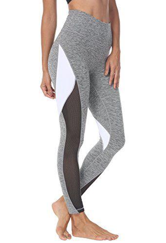 5102abe45b4115 Queenie Ke Women Yoga Pants Color Blocking Mesh Workout Running Leggings  Tights