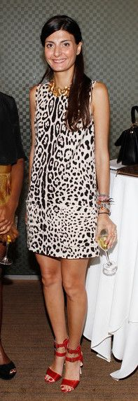 animal print- Giovanna Battaglia. I'm not BIG on prints....but the cut of this dress i like. and this print, isn't at all that bad. I LIKE!!!! her red shoes are gorgeous too!
