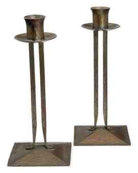A PAIR OF COPPER 'PRINCESS' CANDLESTICKS,  DESIGNED BY KARL KIPP FOR THE ROYCROFTERS, CIRCA 1910,  Price realised  USD 375