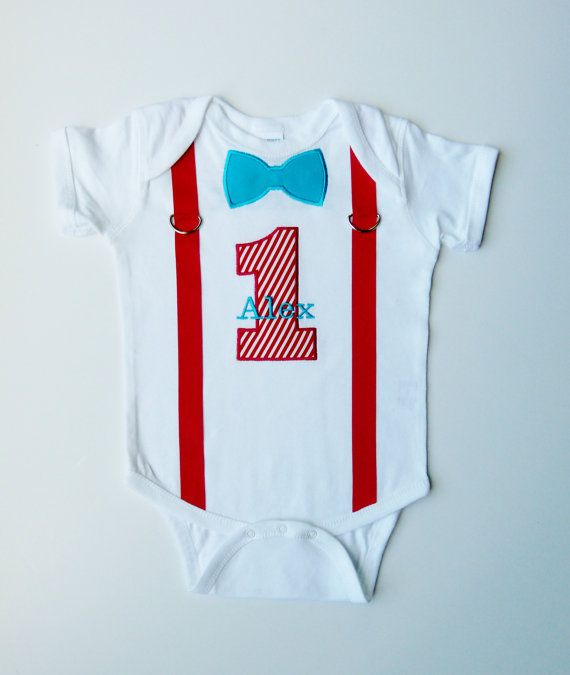 First Birthday Onesie Suspenders Personalized Bow By