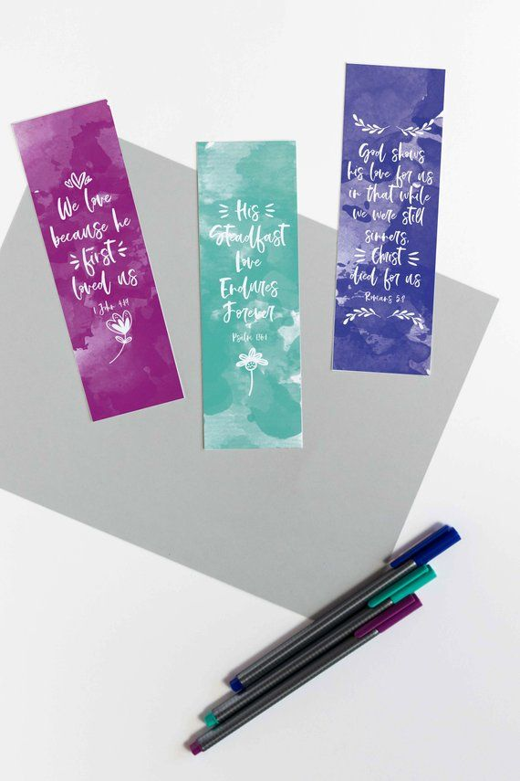 Watercolor Christian Bookmarks