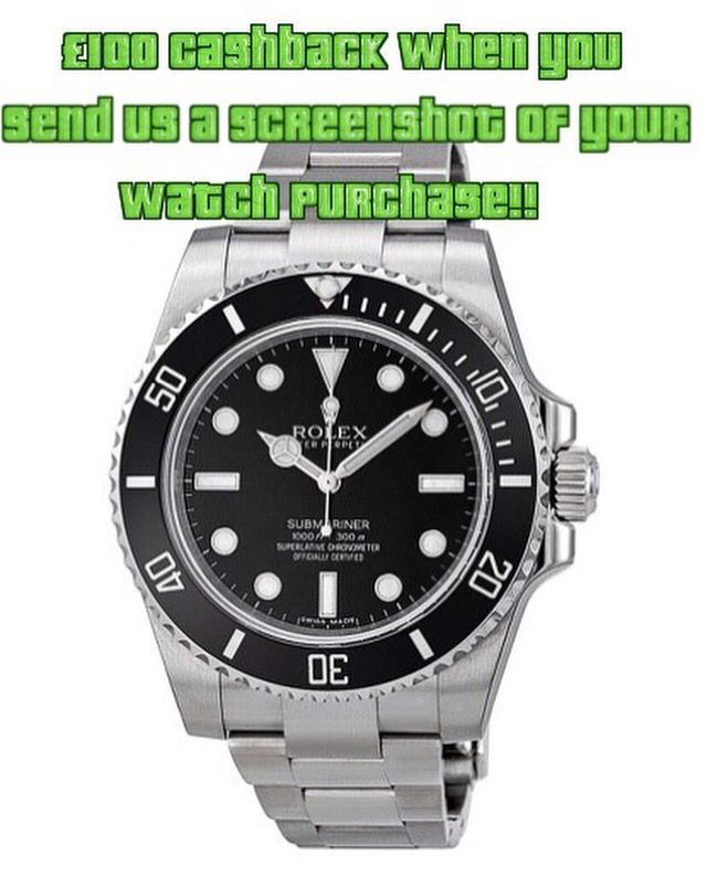 £100 Cashback When You Send A Screenshot Of Your Watch Purchase From Blowabag.com To Contactus@blowabag.com #Rolex #Cashback #Deals #Offers #ForSale #Watches #WatchPorn #Blowabag