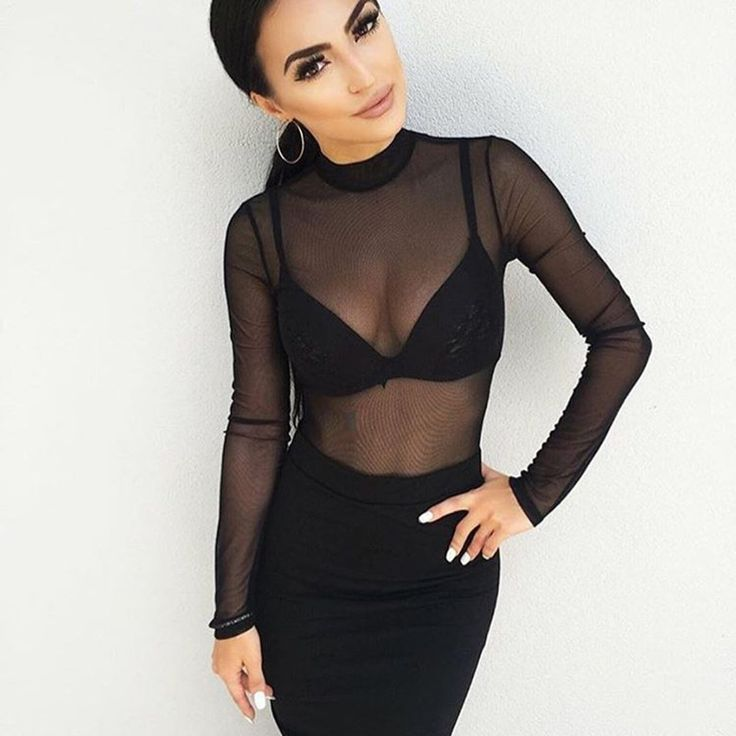 Price:US $9.67 Sexy High Neck Long Sleeve See Through Autumn Summer Women Mesh Bodysuits Playsuits Rompers Jumpsuits Overalls Bodice New