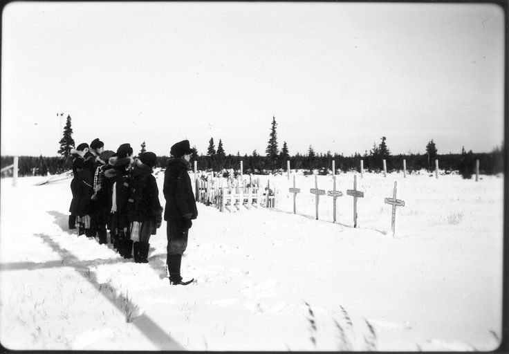 Residential school students at Fort George cemetery, November 3, 1946. HANDOUT: Truth and Reconciliation Commission. HANDOUT/Truth and Reconciliation Commission