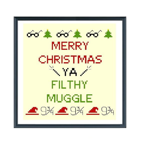 Merry Christmas Ya Filthy Animal cross stitch pdf pattern via Instant Download: This Harry Potter Cross Stitch poster will make a perfect gift