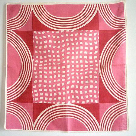 Geometric Red×Pink Vintage Hanky