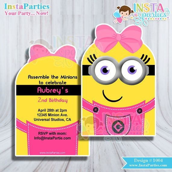 Minion girl invitations minions invitation Pink Bow birthday party Printable digital girly bow