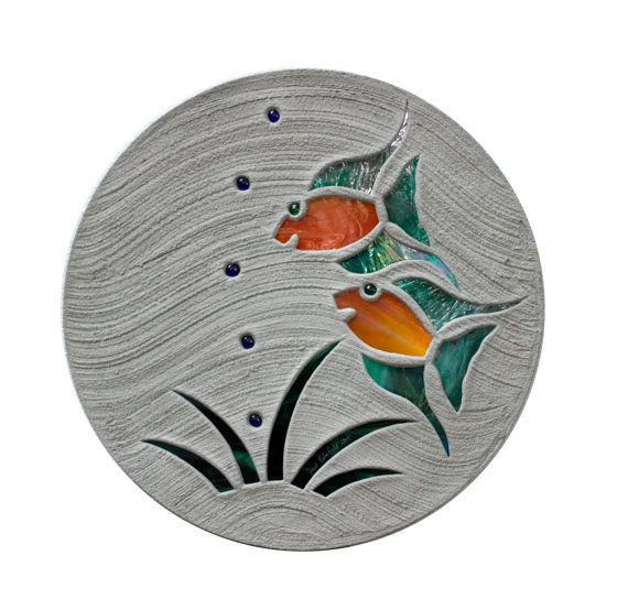 Tropical Fish Goldfish Stepping Stone 18″ Diameter Concrete With Stained Glass Inlay Perfect for Your Garden Patio Back Yard Fish Pond #598