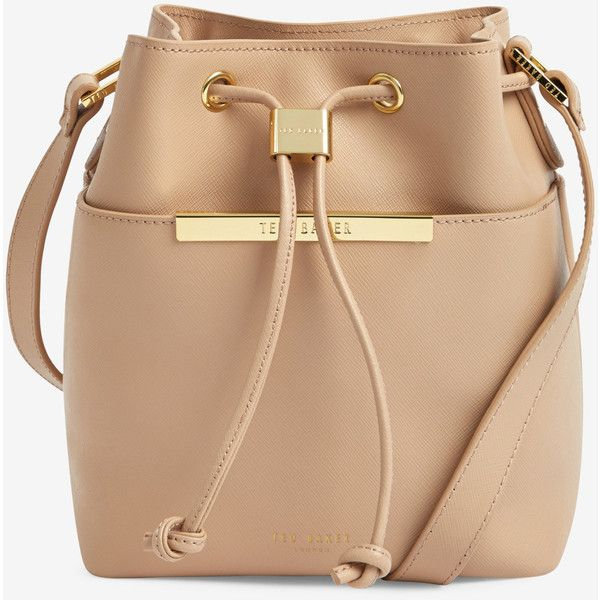 Ted Baker Crosshatch Leather Mini Bucket Bag ($269) ❤ liked on Polyvore featuring bags, handbags, shoulder bags, taupe, beige handbags, leather handbags, beige leather purse, taupe leather handbag and ted baker handbags