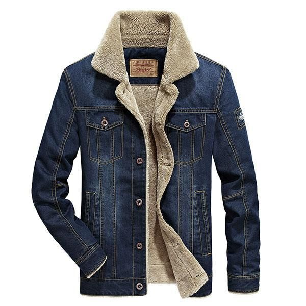 Mens Fashion Slim Plus Velvet Thick Jacket Denim Jacket Fashion Denim Jacket Men Lined Denim Jacket