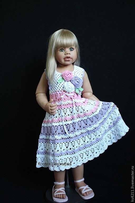 Купить сарафан для девочки Букет Роз - белый, сиреневый, сирень, сарафан, платье, вязаный сарафан