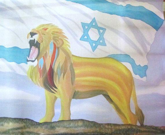 Lion of Judah Roars Over Israel Light Hand Painted Silk Flag For Praise Worship or Dance